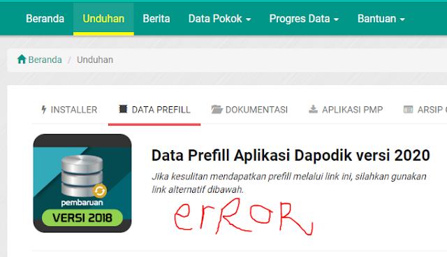 Tidak Bisa Download Data Prefill Sekolah Dapodik 2020
