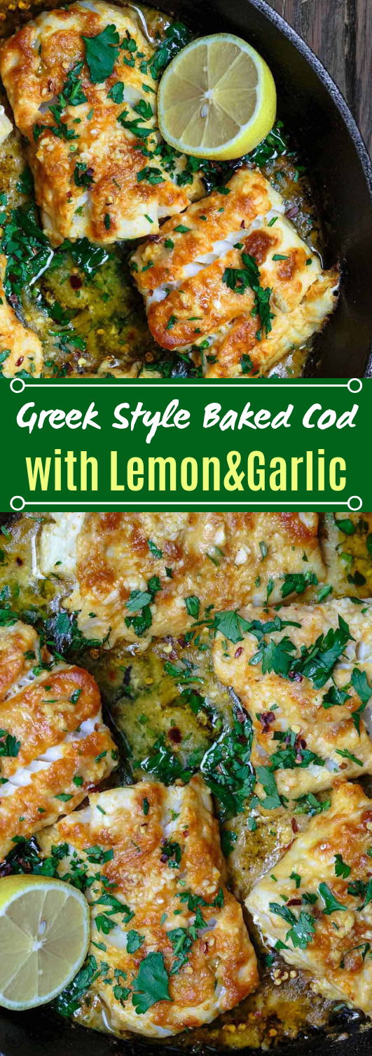 Mediterranean Baked Cod with Lemon and Garlic #fish #dinner