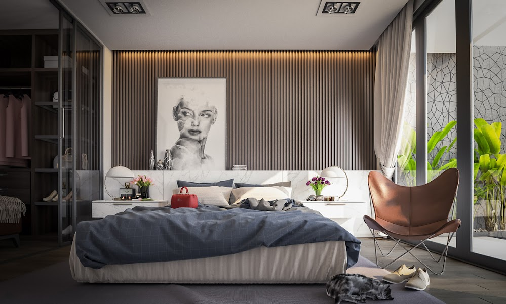 lined-wallpaper-leaning-sketch-bedroom-wall-painting