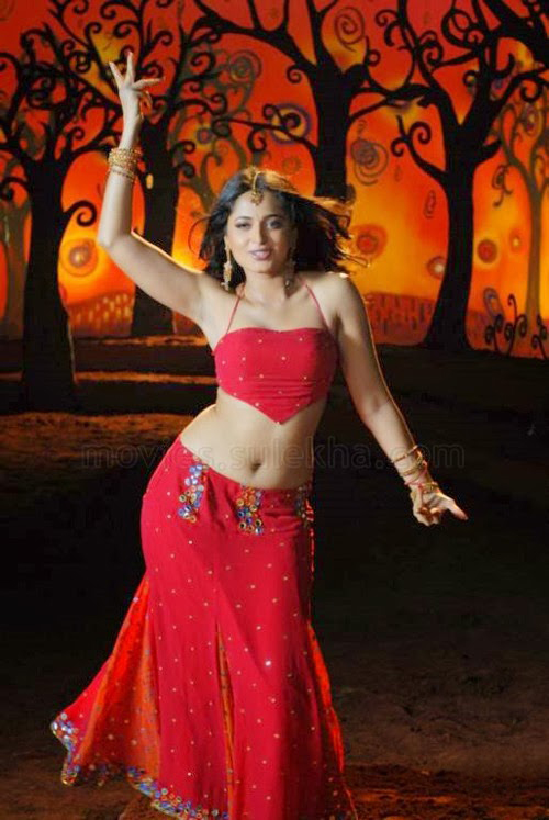 Anushka Shetty hot in red, Anushka Shetty navel pictures