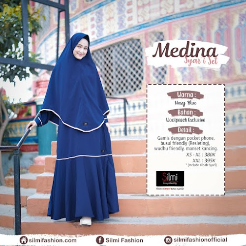 silmi fashion gamis medina navy blue