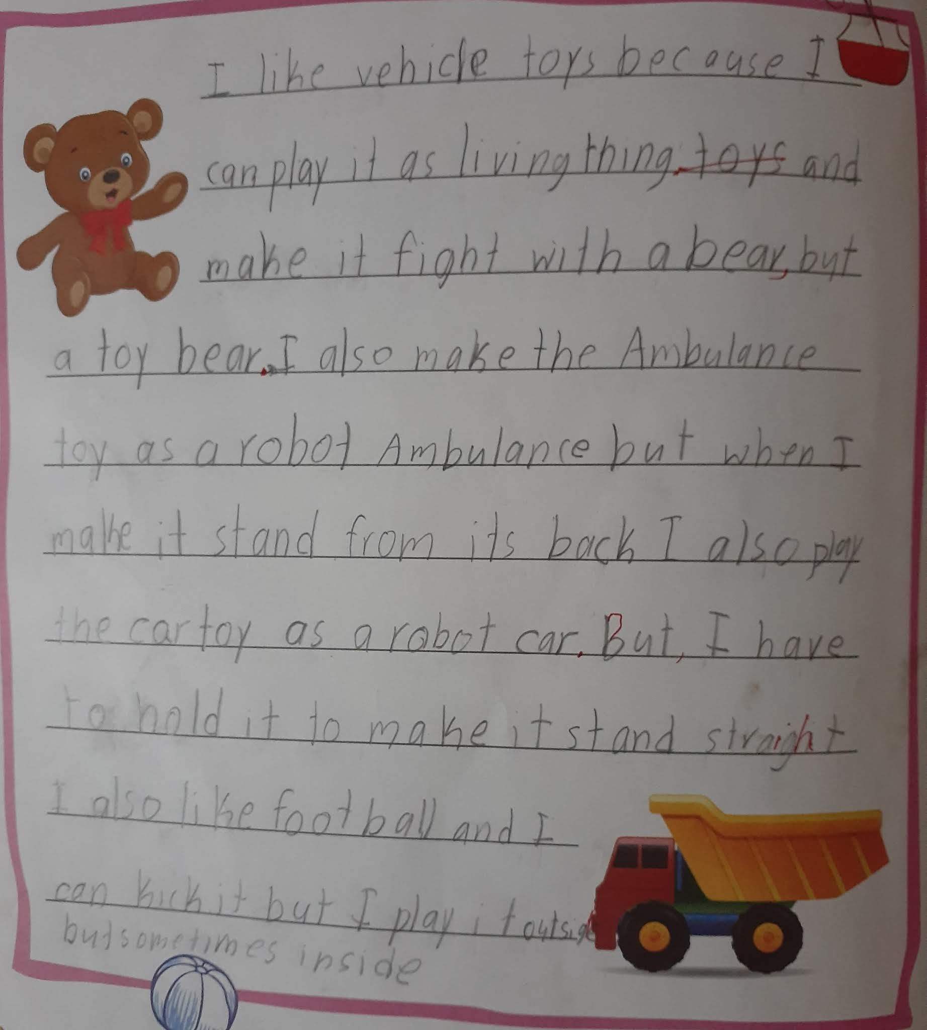 My toys essay for kids pre written essay on the three principles of fitness fit