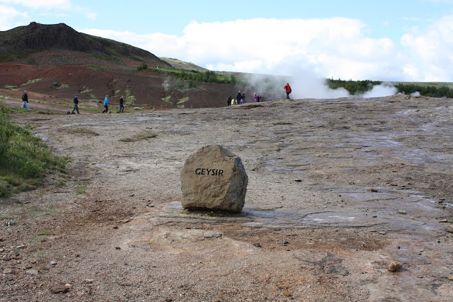 Geysir the geyser after which all are named in an Icelandic geothermal area.