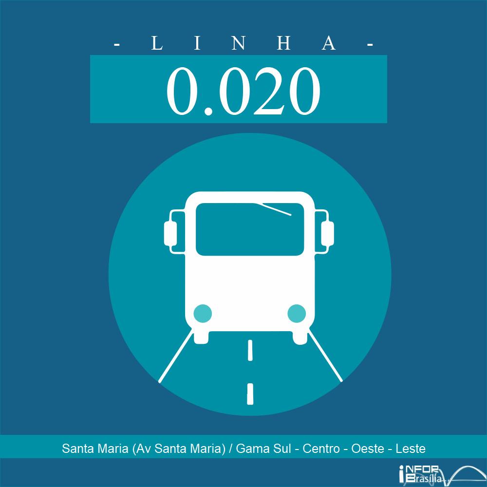 Horário de ônibus e itinerário 0.020 - Santa Maria (Av Santa Maria) / Gama Sul - Centro - Oeste - Leste