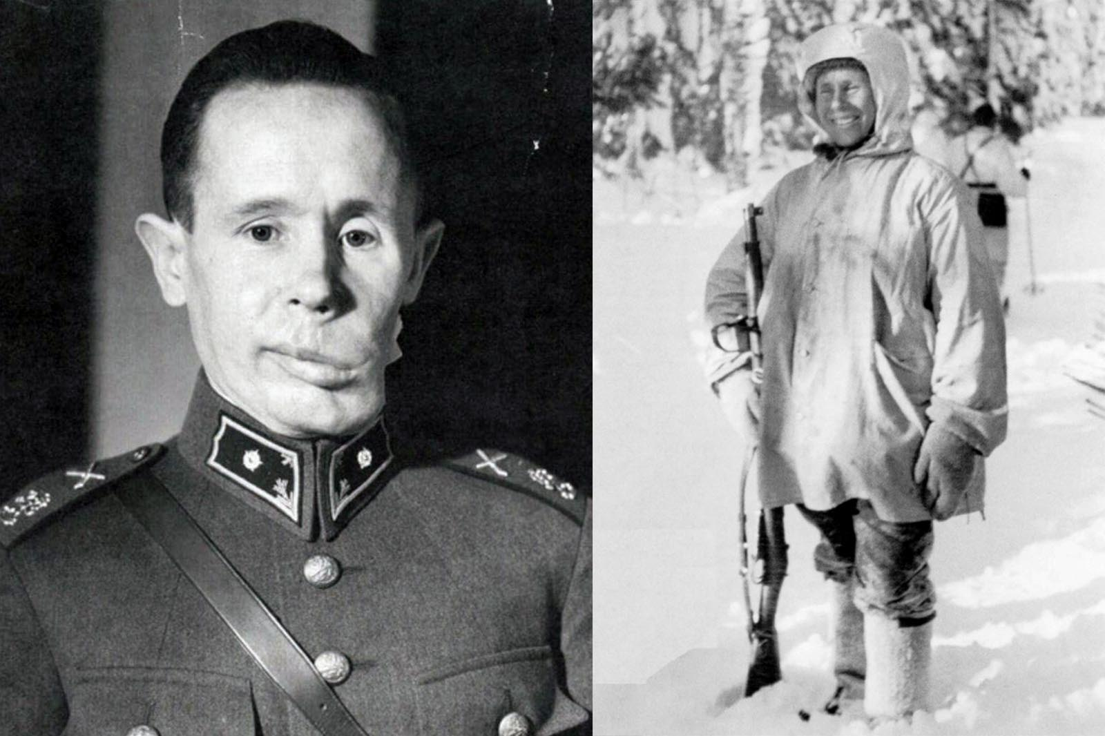 (Left) Häyhä in the 1940s, with visible damage to his left cheek after his  1940 wound, (Right) Häyhä after being awarded the honorary rifle model 28.