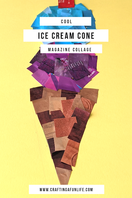 Super cool ice cream cone magazine collage craft for kids