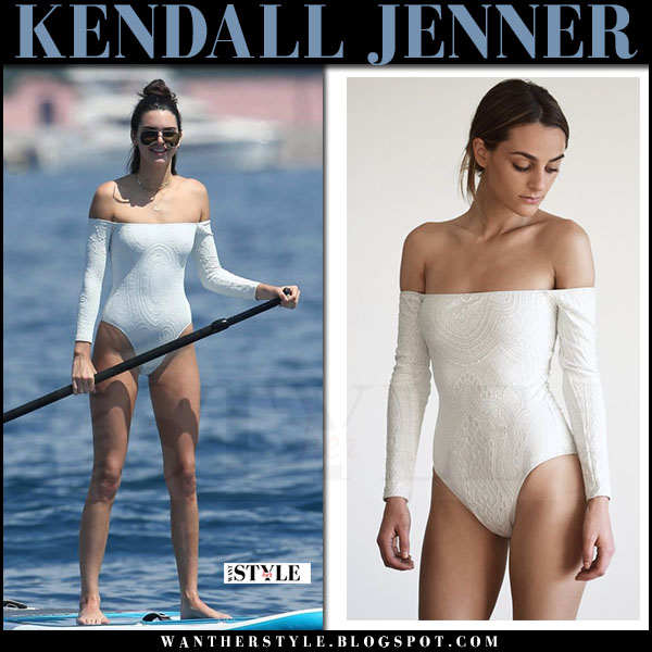 Kendall Jenner in white off shoulder long sleeve swimsuit midsommar swim what she wore cannes ma 24 2017 beach style