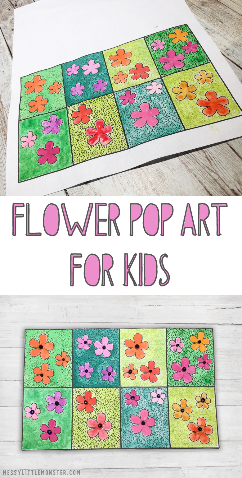 Flower art for kids. Pop art projects inspired by Andy Warhol for kids. Flower pop art template included.
