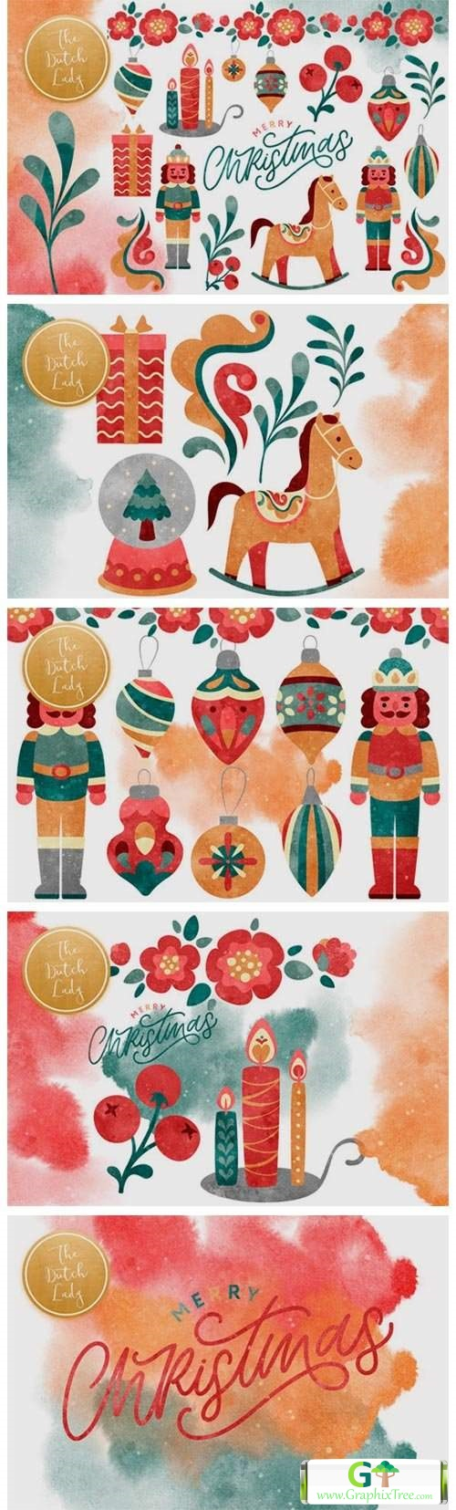 Christmas Toys & Ornaments Clipart Set [Vector] [Holiday & Party]