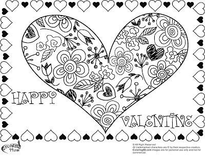 valentines coloring pages for teens | Happy Valentines Day Hearts Coloring Pages – Colorings.net