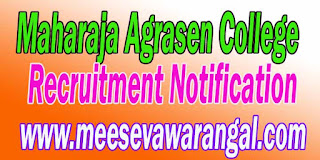 Maharaja Agrasen College Recruitment Notification 2016 du.ac.in