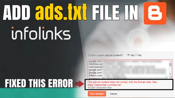 Infolinks, How to add ads.txt file in blogger