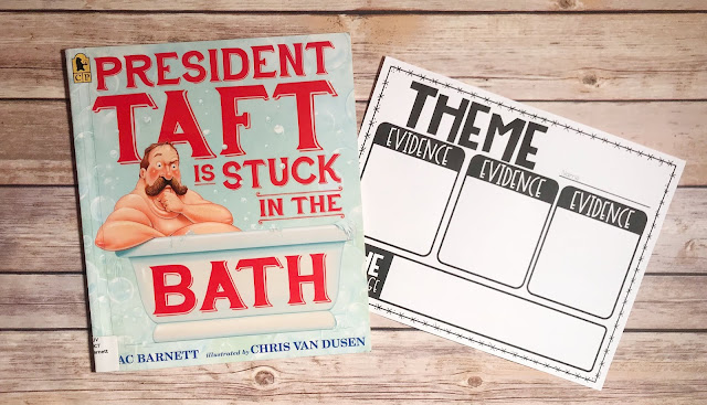 """Picture Book with text """"President Taft is Stuck in the Bath"""" and Theme Graphic Organizer"""