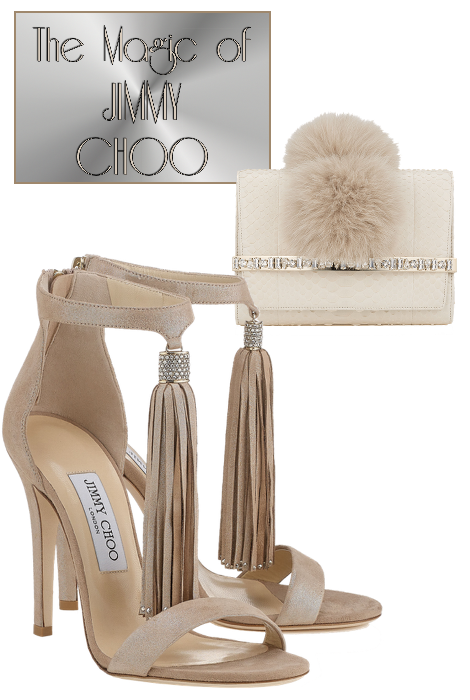 Jimmy Choo Bow White Python Clutch Bag with Crystal Bar and Fox Pom Poms