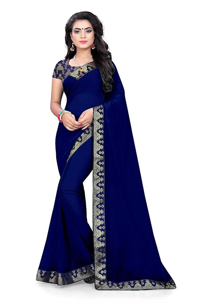 FASHION U Harsiddhi Women's Georgette Saree (Blue)