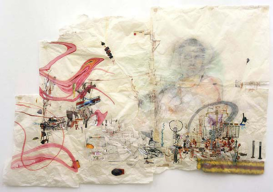 Elliott Hundley The Hanging Gardens, the invention of drawing, 2005 rice paper, color photo copies, marbleized paper, charcoal, pastel, paper  152.4 x 213.4 cm