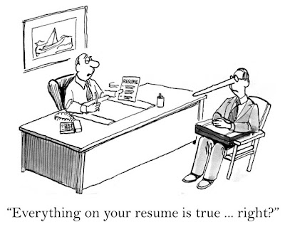 "Cartoon of an interviewer asking the candidate whose nose has grown long, ""Everything on your resume is true, right?"""
