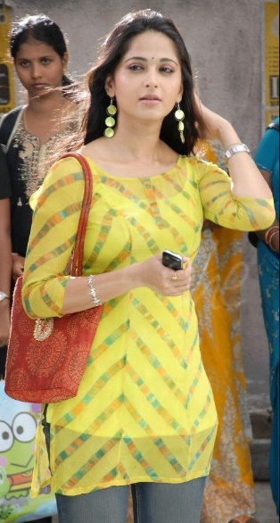 anushka shetty in yellow dress II