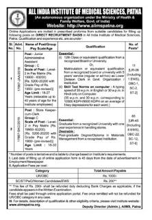 AIIMS, Patna Recruitment - Jr, Administrative Ass. Store Keeper Cum Clerk