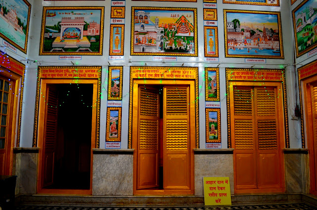 Paintings on the walls of Sri Digambar Jain Temple, Sarnath