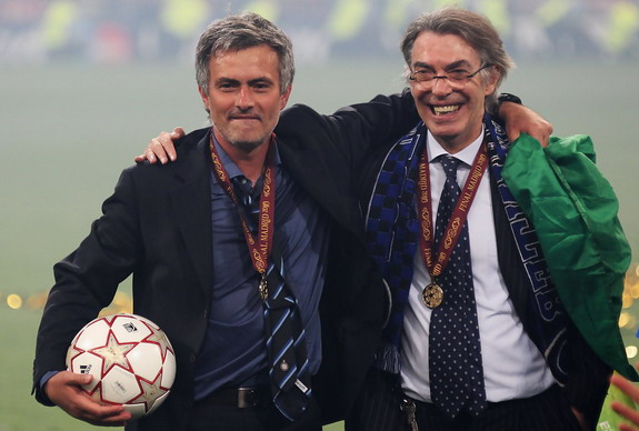 José Mourinho celebrates Inter Milan's Champions League win with president Massimo Moratti in 2010