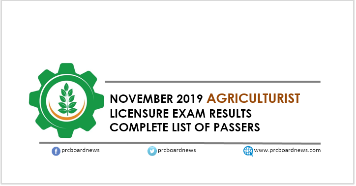 RESULT: November 2019 Agriculturist board exam list of passers