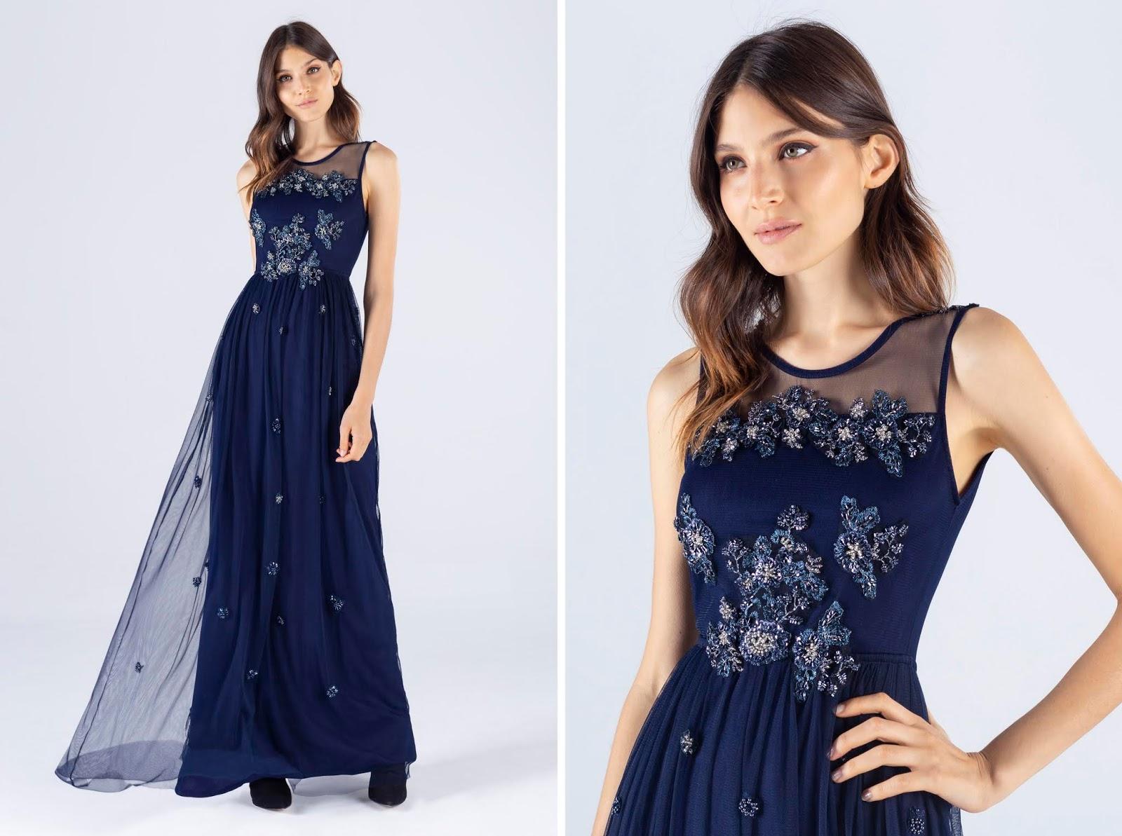 Vestido de fiesta azul 2020. Moda vestido de fiesta 2020.