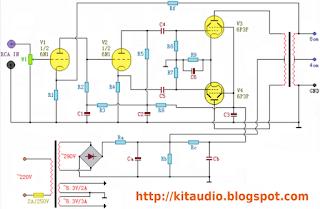 30 Watt power amplifier with Russian valves 6N1 - 6P3P