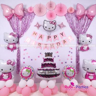 Set bóng sinh nhat chu de Hello Kitty KT645