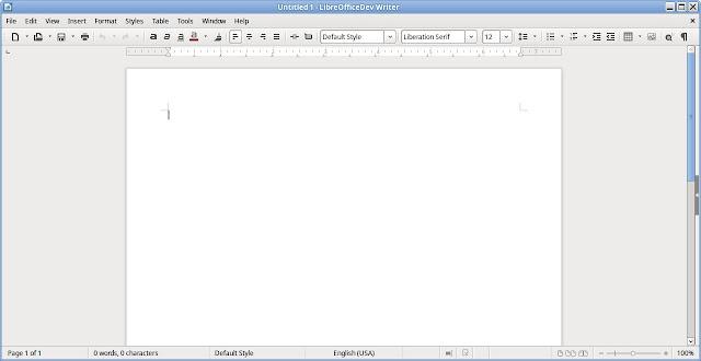 Writer no modo barra de ferramentas simples.