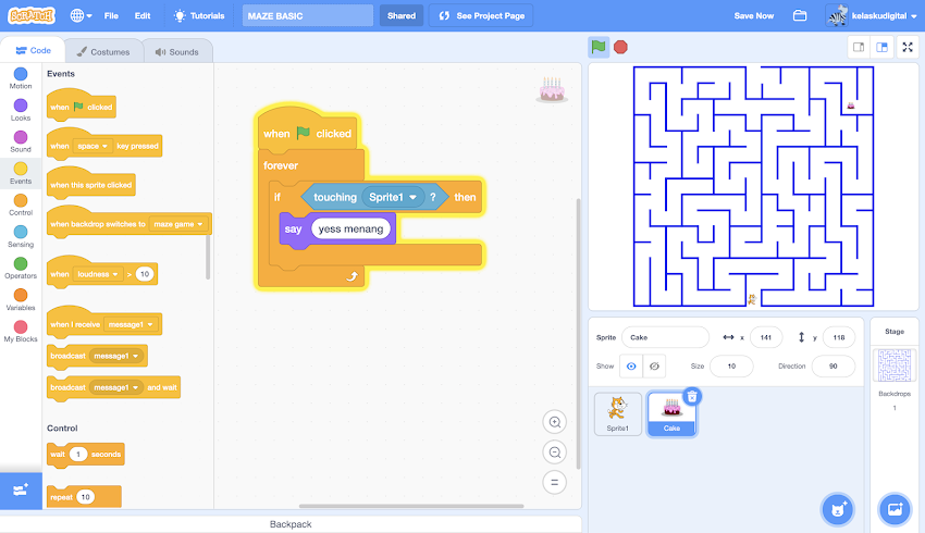 Tutorial Scratch 3.0:  Membuat Game Maze Basic
