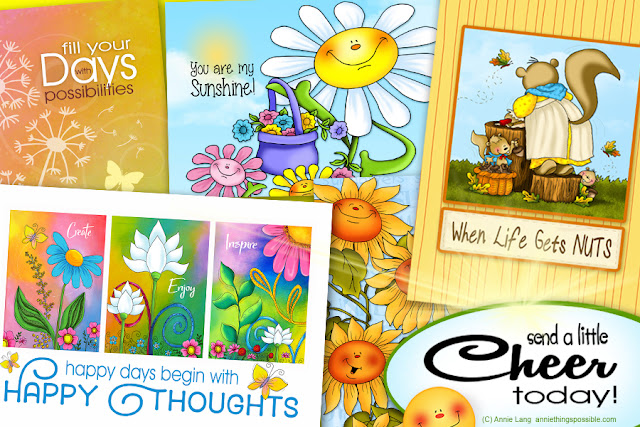 Annie Lang will help you send a smile along with a hug with positive thoughts greeting cards sent directly to your recipient