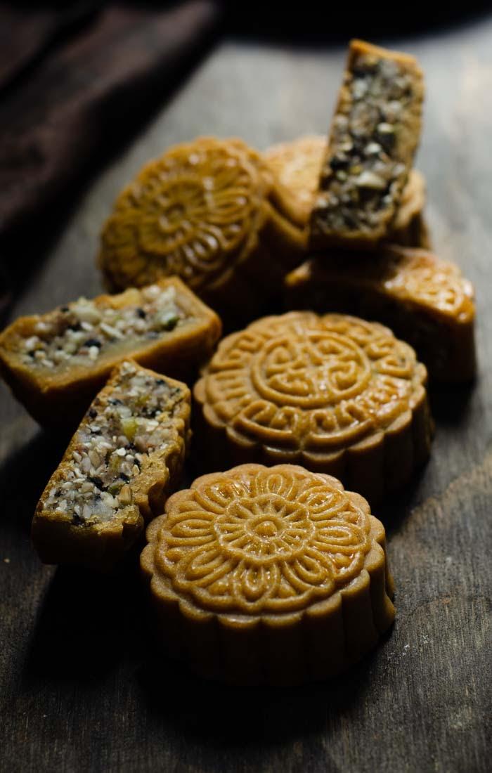 Celebrating mid autumn festival with mooncakes