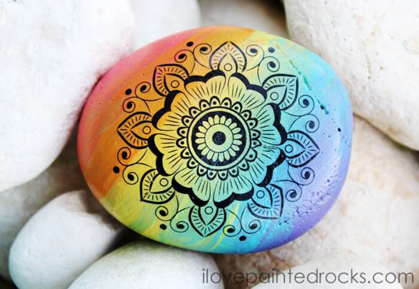 how to paint rainbow ombre rocks with mandalas
