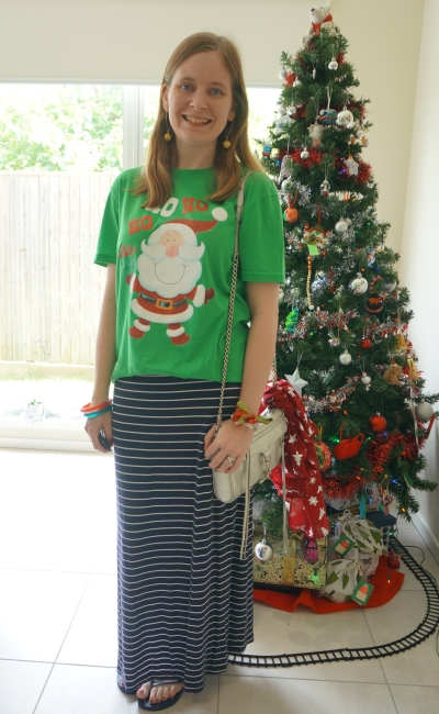 festive green red glitter Santa tee with navy stripe maxi skirt casual Christmas eve outfit silver mini mac bag | awayfromtheblue