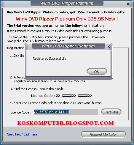 1 dvd ripper registration code