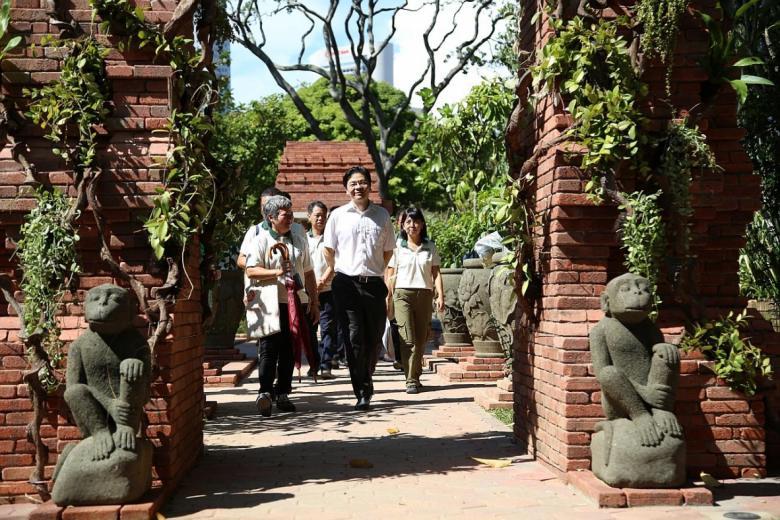Minister for National Development Lawrence Wong at the Sang Nila Utama Garden.