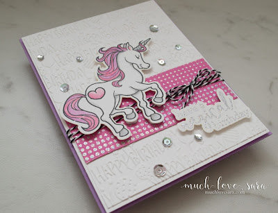This sweet, and fun, handmade birthday card would be perfect for a sassy little girl - or maybe even a big one.  The pinks, purples, and sparkling heat embossing are very feminine.  Using Fun Stampers Journey Magical Unicorn Stamps and Dies, along with the Graduated Dots Background Stamp.