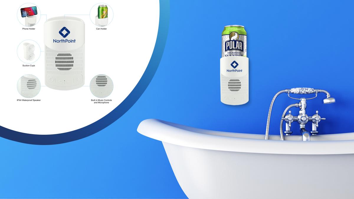 Shower speaker and cup holder