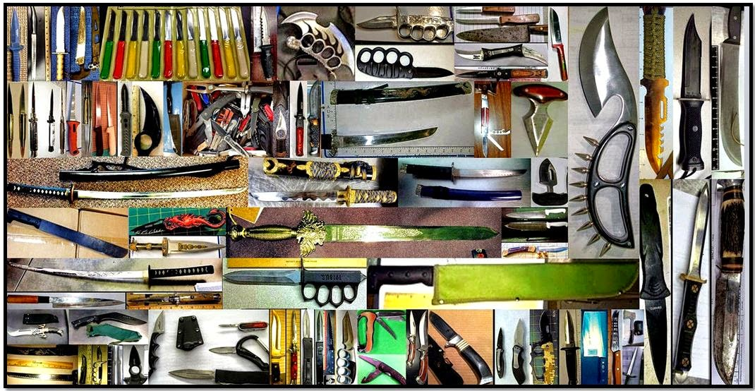 Some of the knives and swords our officers discovered in 2014