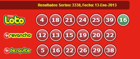 Resultados Loto Sorteo 3338 Fecha 13/01/2013