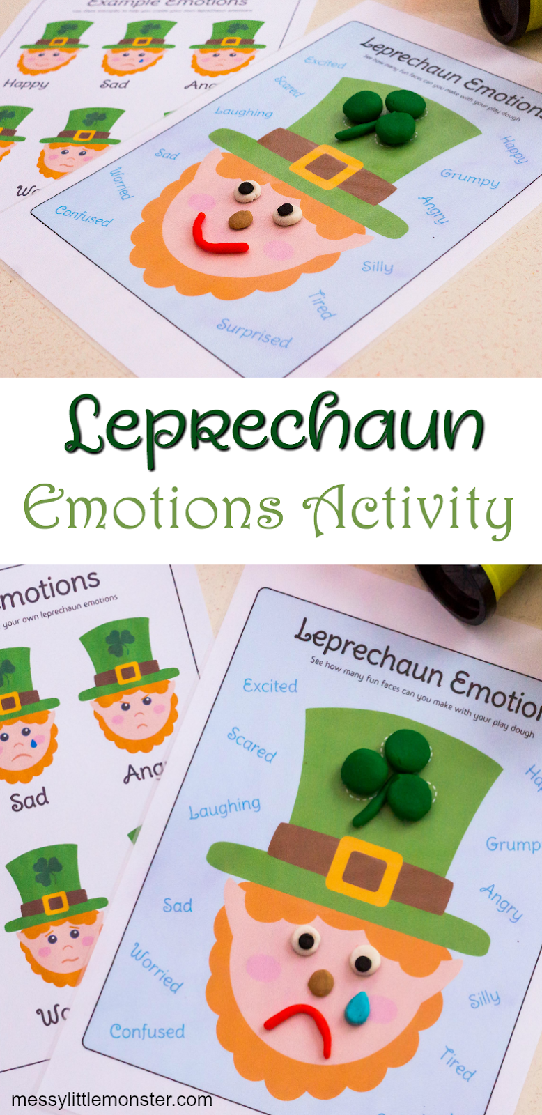 St Patricks Day playdough emotions activity pack. Including lerpechaun playdough mat.