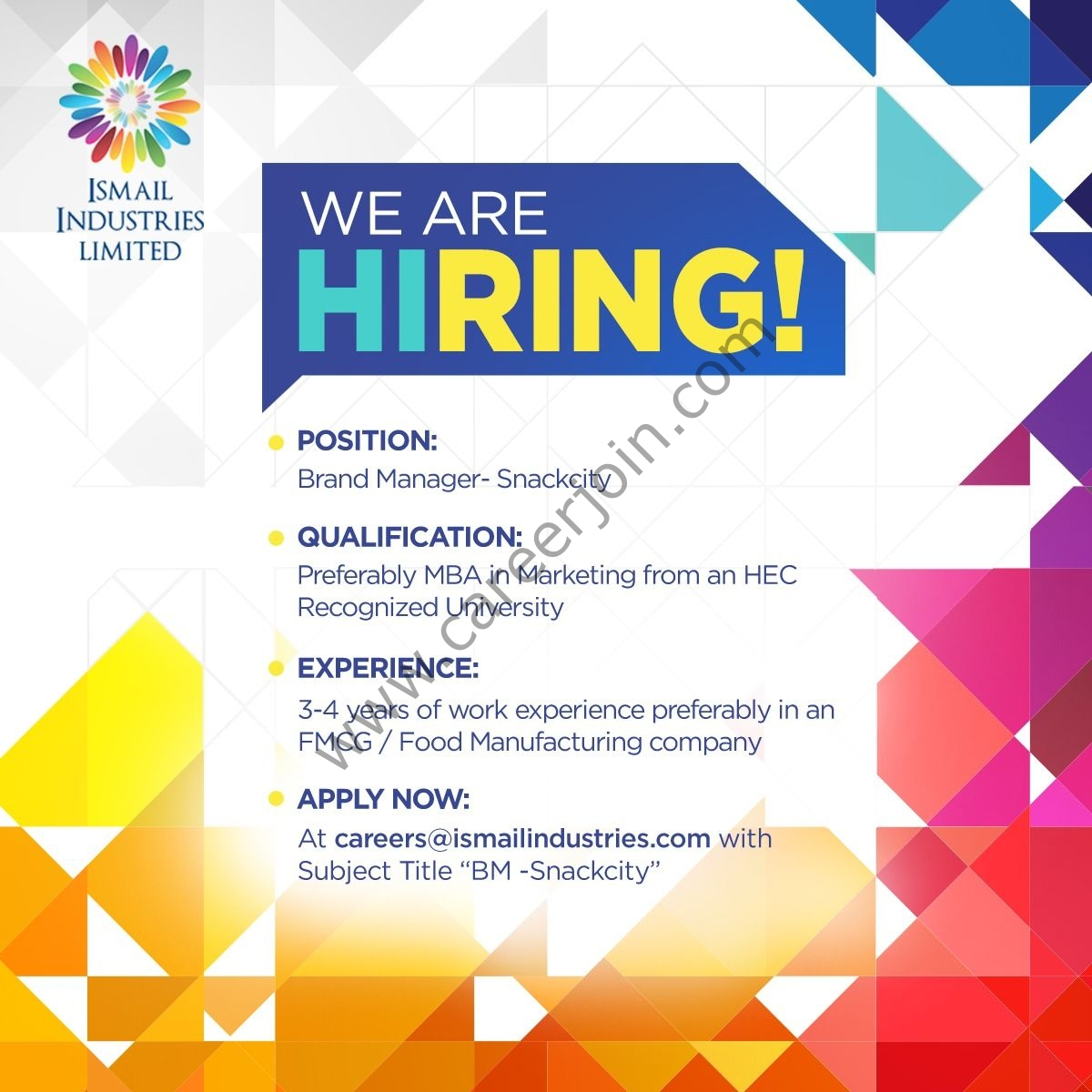 Ismail Industries Ltd Jobs Brand Manager 2021