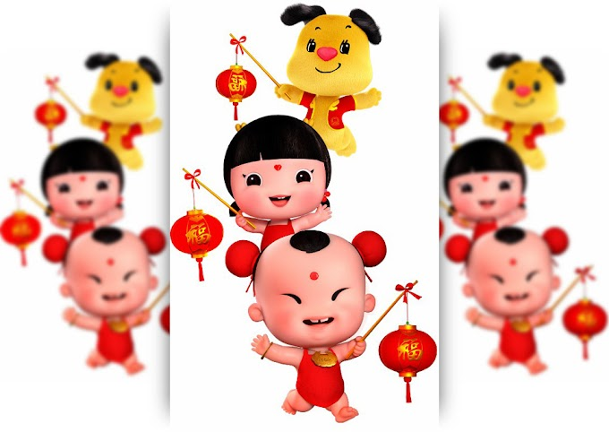 Happy Chinese New Year - Children with lanterns in their hands Free PNG