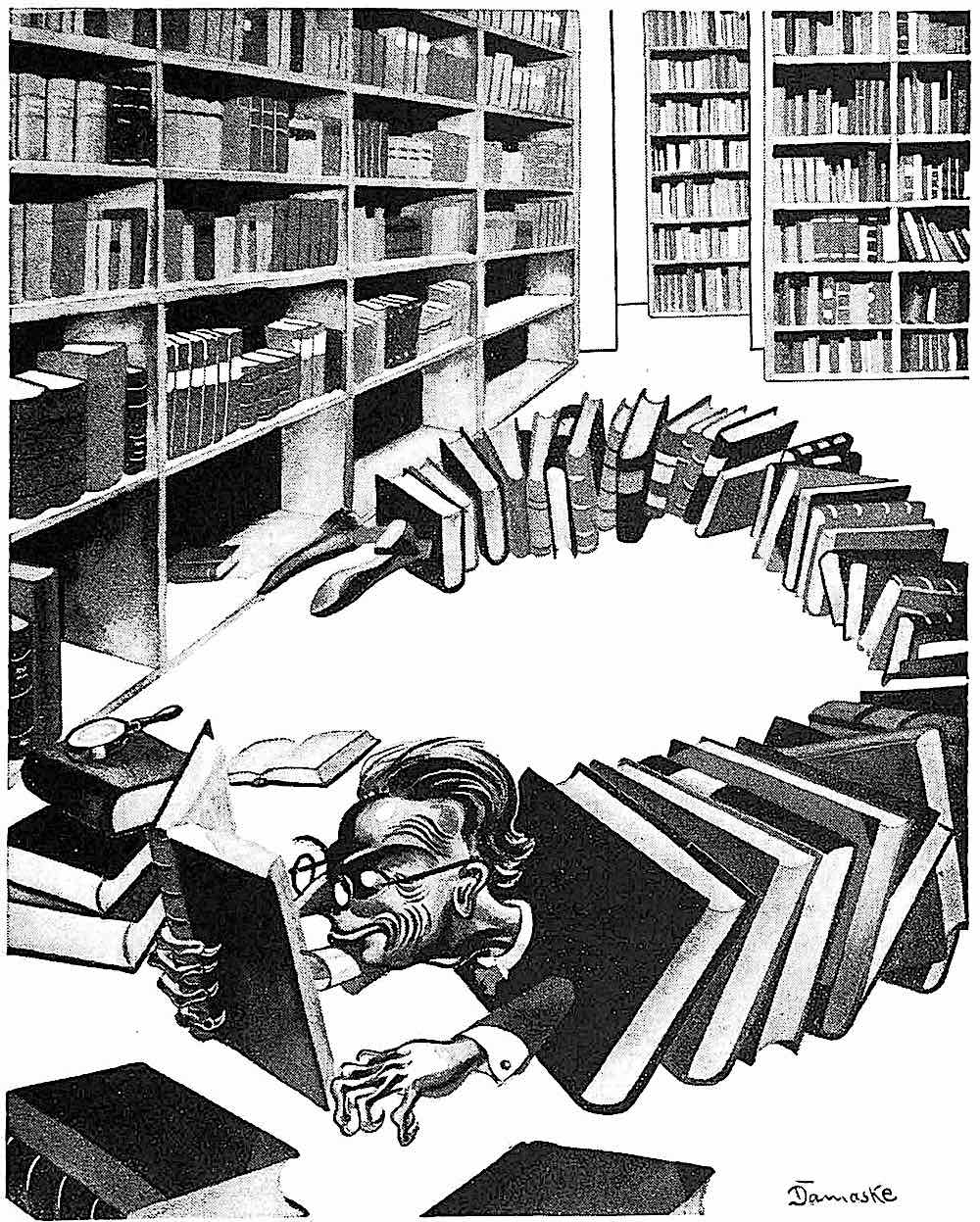 Erwin Damaske 1932, an avid book reader in his library