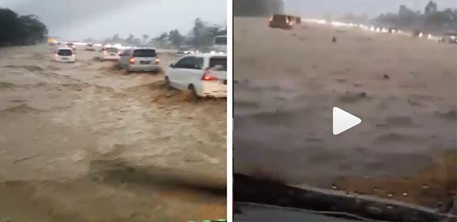 Bikin Merinding! Video Banjir di Tol Cipali Mirip Lautan