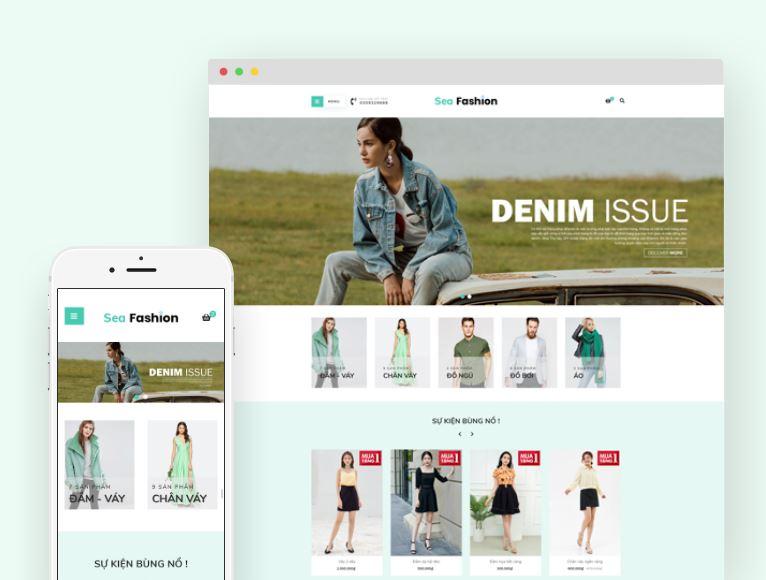 Theme Sea Fashion là giao diện phù hợp với nhiều hình thức kinh doanh buôn bán đa ngành đa lĩnh vực
