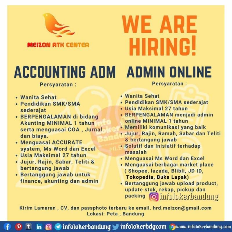 Lowongan Kerja Accounting Adm & Admin Online Meizon ATK Center Bandung Mei 2021