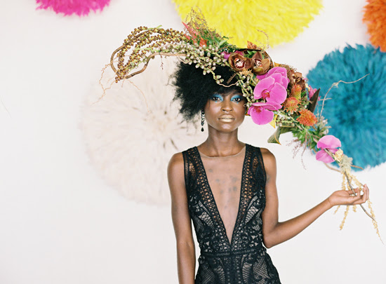Safari Fusion blog | Flowers, feathers + food | Our Bamileke Feather Headdress feature at Edward & Tea's launch