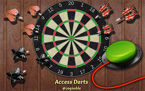 Picture of a Dart board, surrounded by 9 darts, 3 with union jacks, 3 with stars and stripes and 3 with skull and cross-bones. A green accessibility switch with lead is pictured in front.